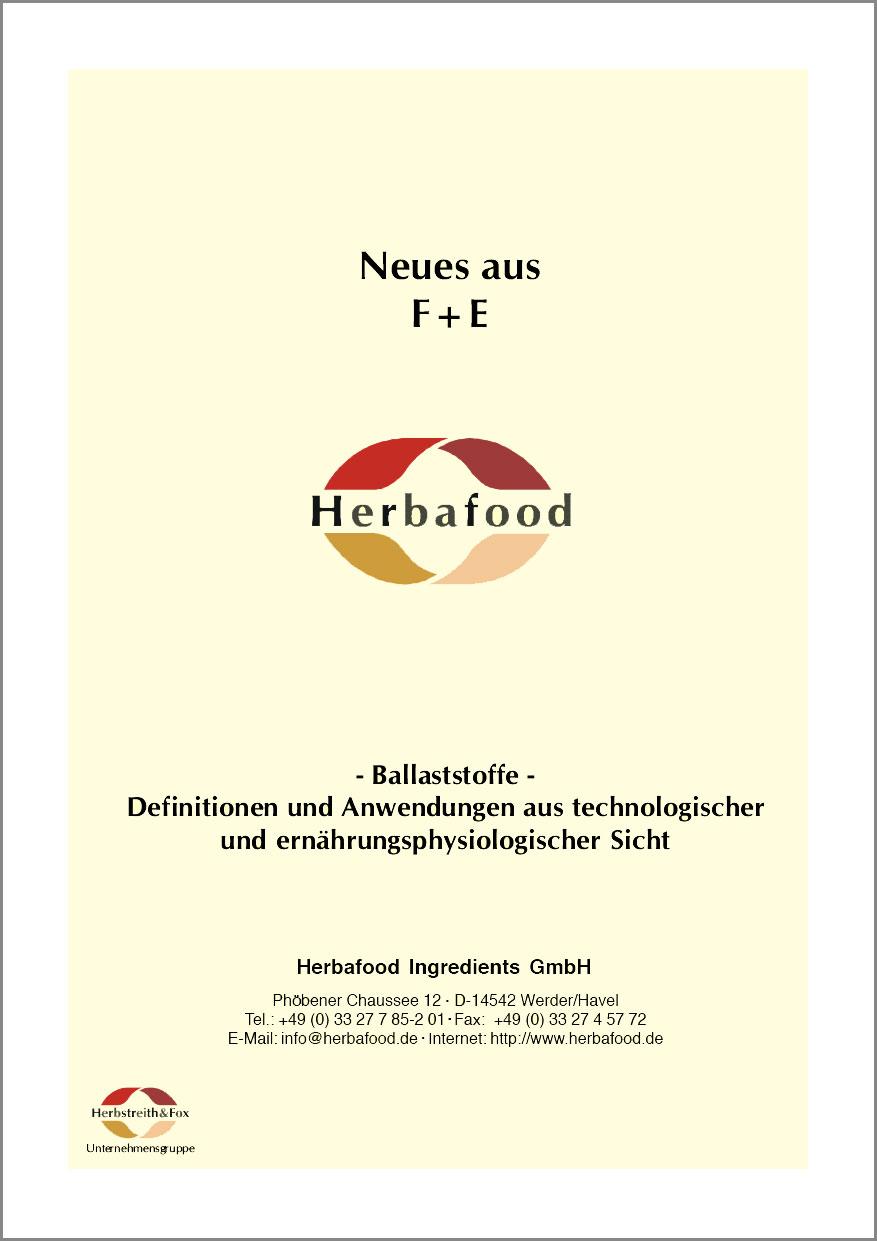 Ballaststoffe – Definitionen und Anwendungen aus technologischer und ernährungsphysiologischer Sicht  Format: PDF - Größe: ca. 0,2 MB
