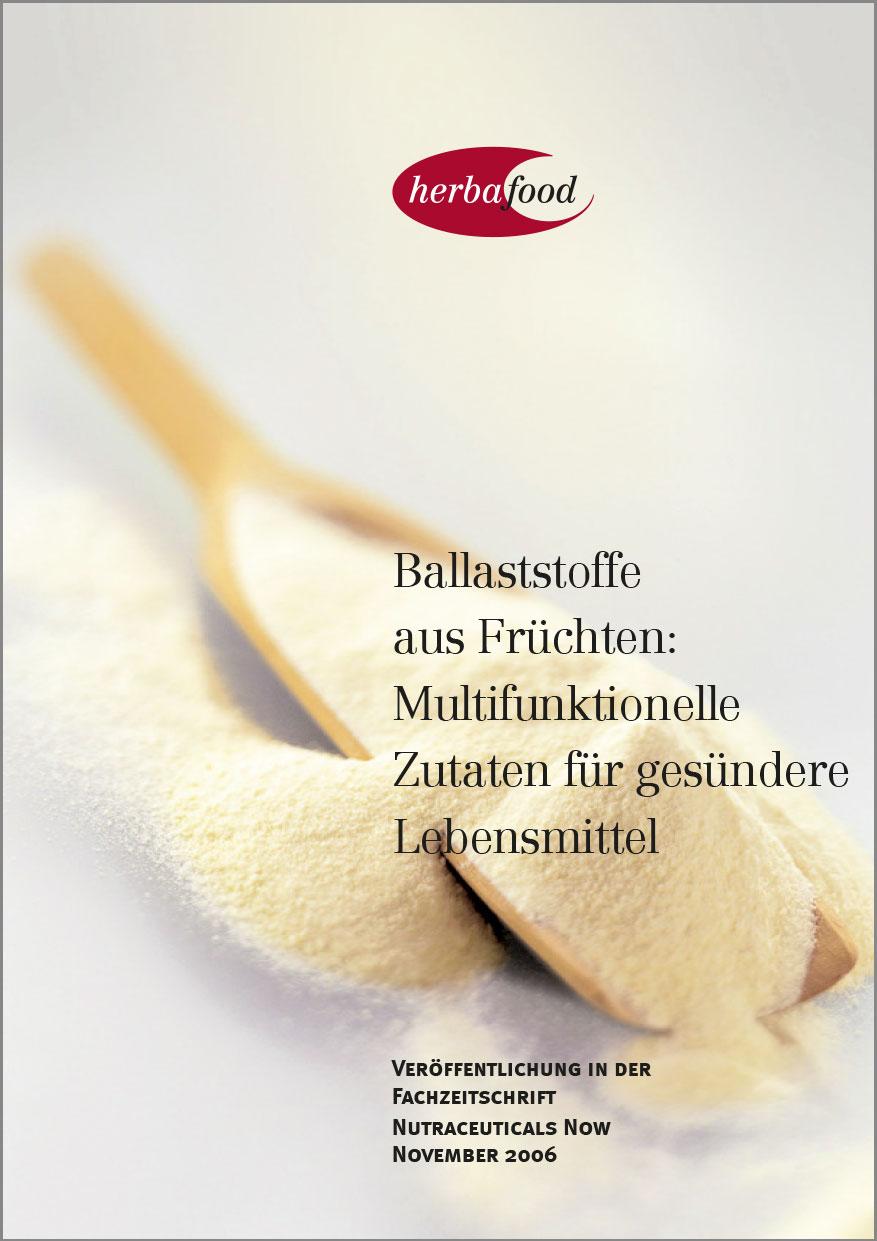 Ballaststoff aus Obst und Gemüse: Wichtiger Bestandteil der Ernährung, um Krankheitsrisiken zu reduzieren?  Format: PDF - Größe: ca. 0,4 MB
