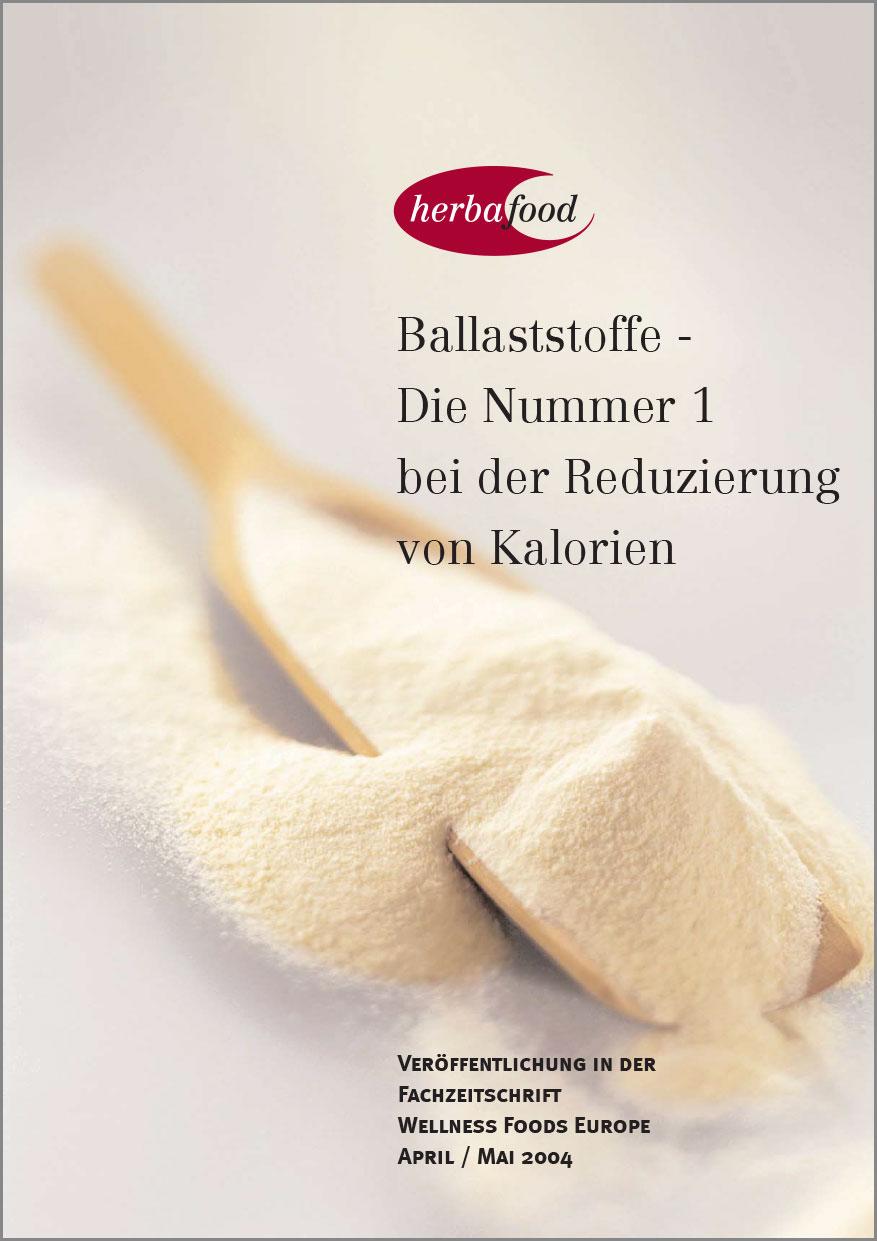 Ballaststoffe - Die Nummer 1 bei der Reduzierung von Kalorien  Format: PDF Größe: ca. 0,3 MB