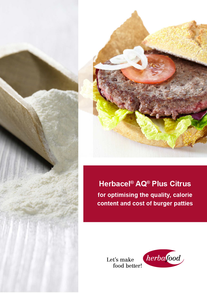 Herbacel-AQ Plus Citrus – for optimising the quality, calorie content and cost of burger patties (Format: PDF Size: approx. 1.2 MB)