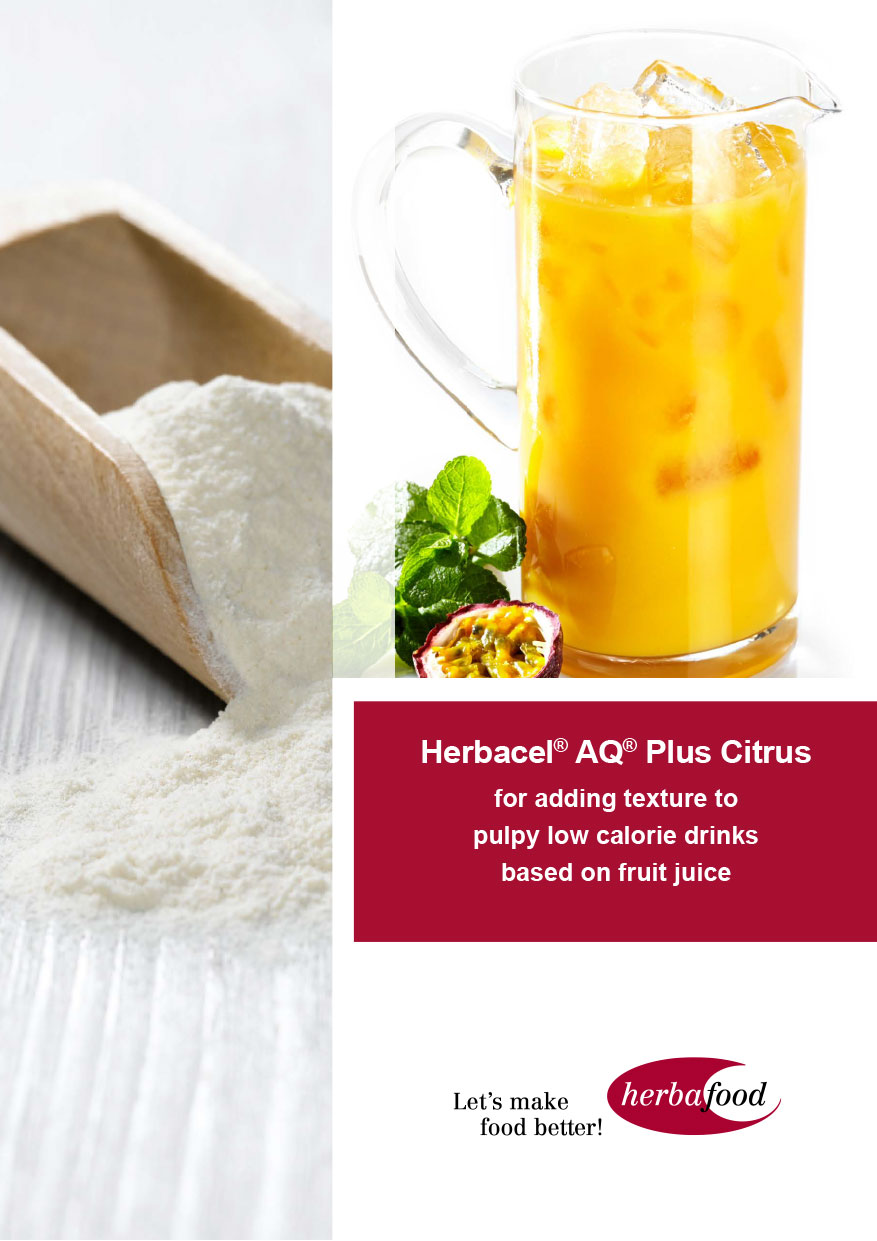 Herbacel®-AQ® Plus Citrus – for adding texture to pulpy low calorie drinks based on fruit juice (Format: PDF Size: approx. 1.8 MB)