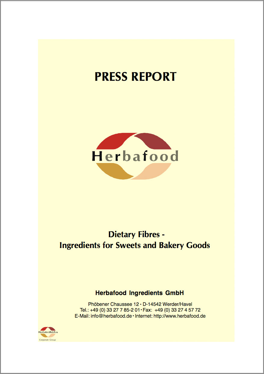 """Dietary Fibres – Ingredients for Sweets and Bakery Goods""  Format: PDF - Size: approx. 0.2 MB"