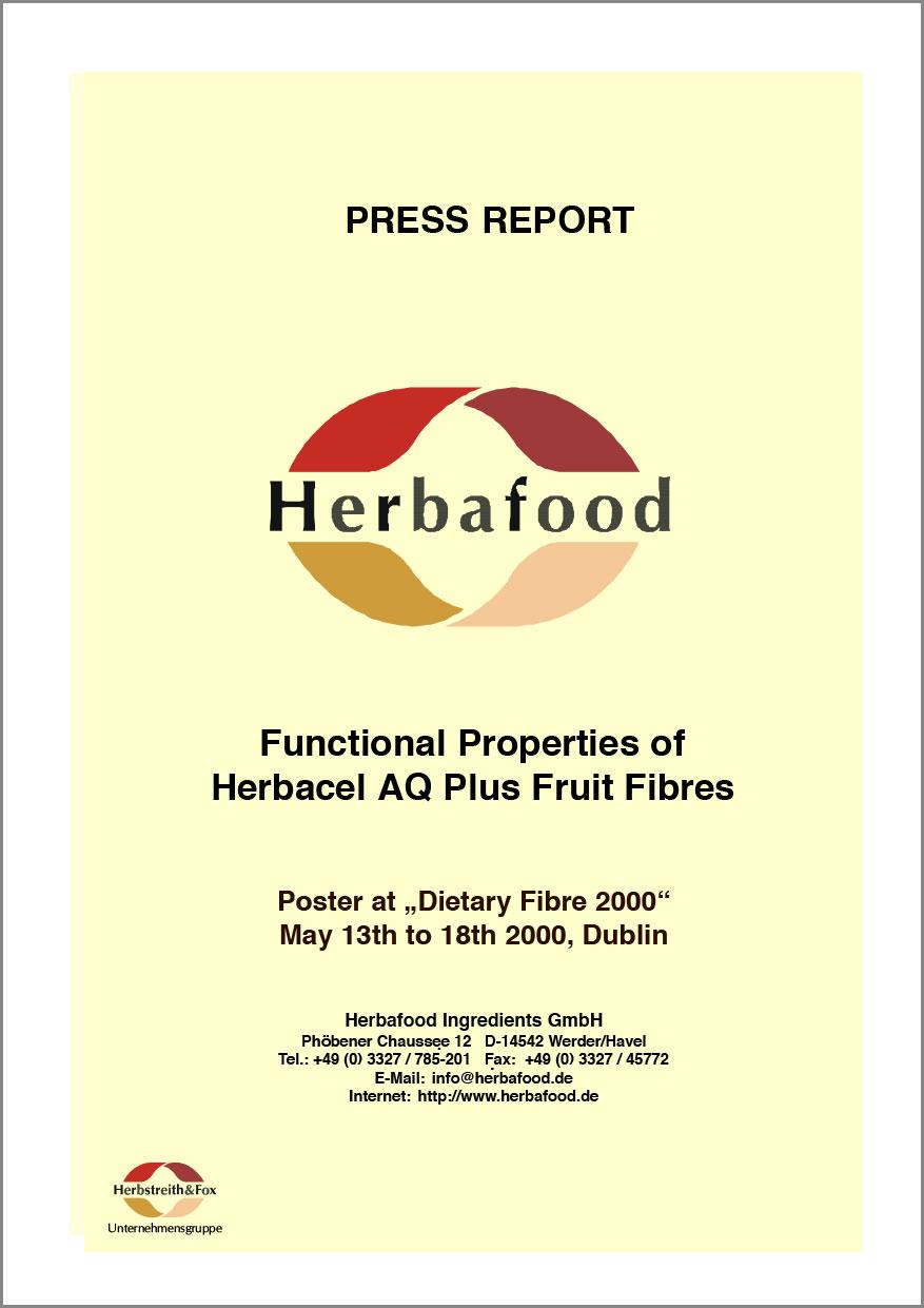 """Funktionelle Eigenschaften von Herbacel® AQ Plus Fruchtfasern (Poster veröffentlicht beim Ballaststoff-Kongress 2000"""")  Format: PDF - Größe: ca. 0,2 MB"""