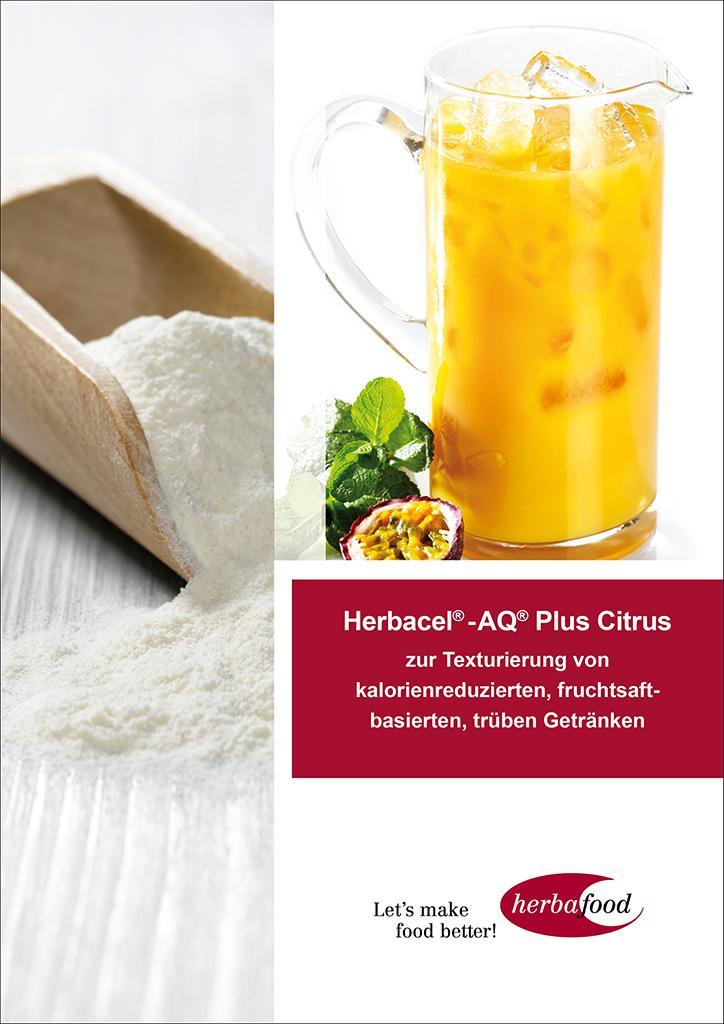 Herbacel® - AQ® Plus Citrus – zur Texturierung von kalorienreduzierten, fruchtsaftbasierten, trüben Getränken  (Format: PDF – Größe: ca. 1,7 MB)
