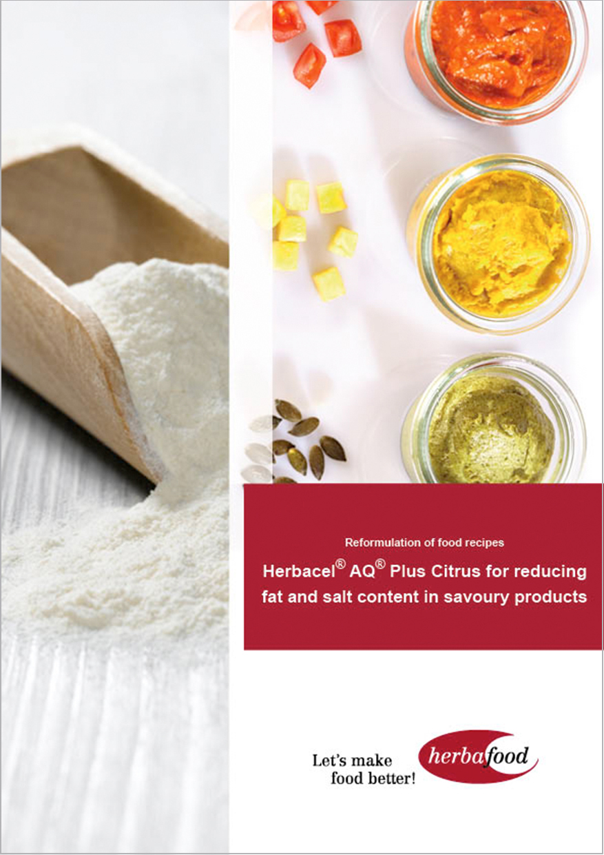 Herbacel® AQ® Plus Citrus for reducing fat and salt content in savoury products (Format: PDF – Size: 700 KB)