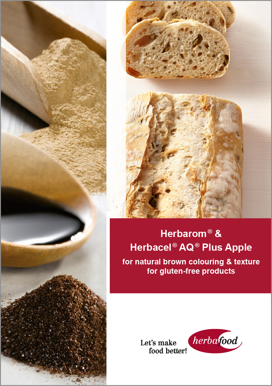 Herbarom ® &  Herbacel ® AQ ® Plus Apple  for natural brown colouring & texture  for gluten-free products (Format: PDF – Size: 600 KB)