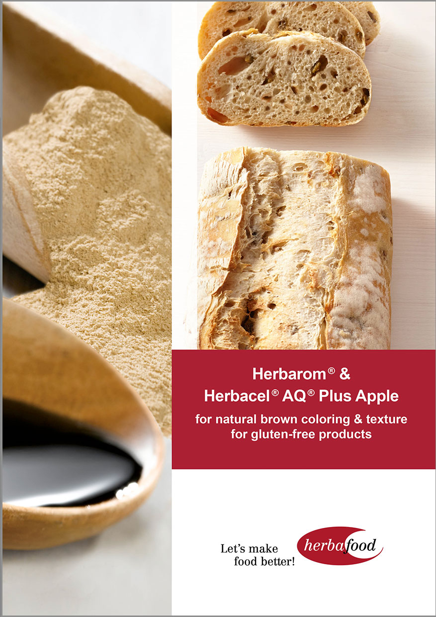 Herbarom® & Herbacel® AQ® Plus Apple for natural brown colouring & texture for gluten-free products – US version (Format: PDF – Size: 600 KB)
