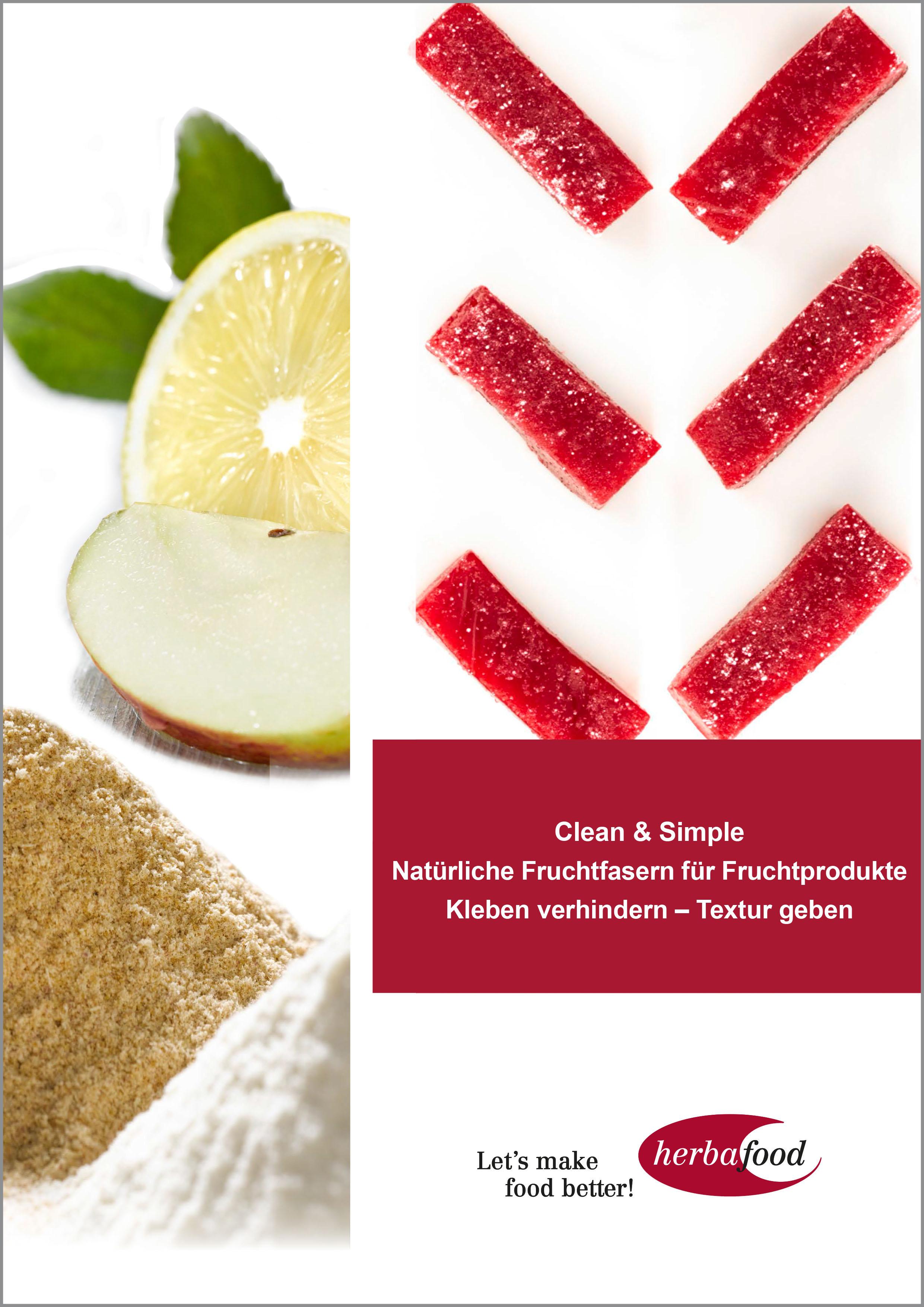 Clean & Simple – Natürliche Fruchtfasern für Fruchtprodukte: Kleben verhindern – Textur geben (Format: PDF – Größe: 700 KB)