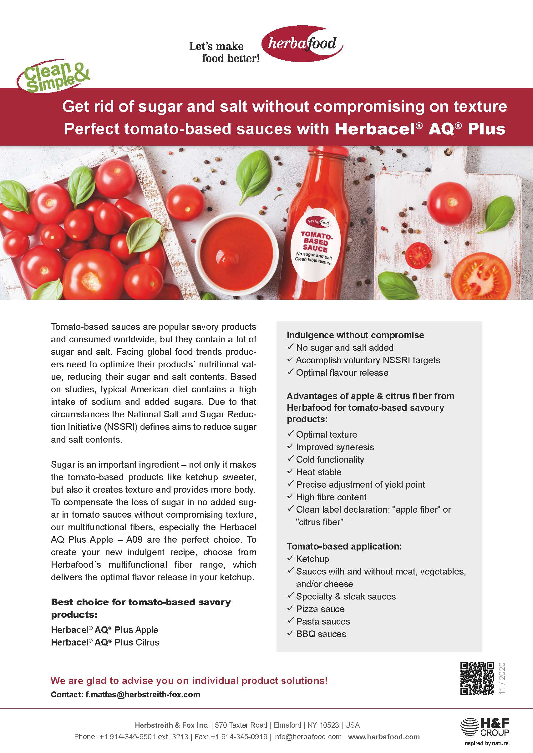 Get rid of sugar and salt without compromising on texture Perfect tomato-based sauces with Herbacel® AQ® Plus